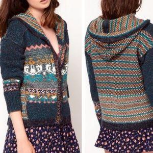 Free People Rainbow Fair Isle Hooded Sweater